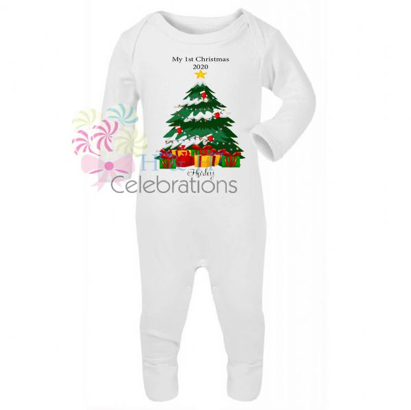 My 1st Christmas Tree & Presents Personalised Baby Romper